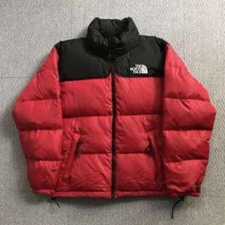 90's THE NORTH FACE Nuptse 700Fill Down Jacket M 黒×赤