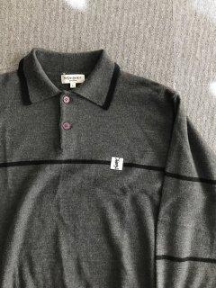 90年代 YVES SAINT LAURENT Wool Knit Polo Shirt L