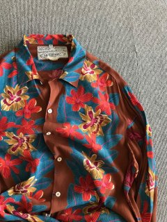 LE GARAGE Rayon Flower Border L/S Shirt S MADE IN FRANCE