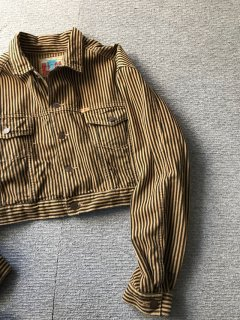 90's ALL U.S Cotton Short stripe Jacket L MADE IN USA