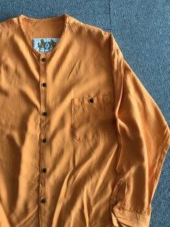90's LIVE Rayon Nocollar Silhirt XL Orange MADE IN USA