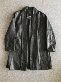 90's TIBOR Leather shawl collar design coat MADE IN USA