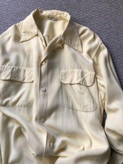 60's Vintage Rayon L/S Shirt Banana yellow M