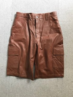 "Vintage leather shorts cargo type"" Brown"