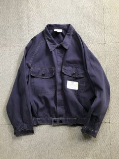 80's EURO Work Cotton Jacket 48 NAVY