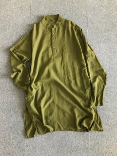 80's Vintage Cotton Long pullover Shirt 44 Side Pocket 付き Olive