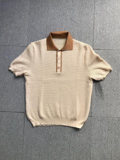 80's Euro Vintage honeycomb S/S POLO S/S Shirt MOCA