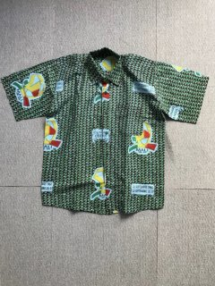 90's African batik pattern Cotton S/S Shirt