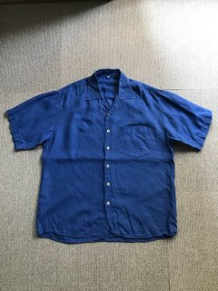 90's Euro Linen Shirt INK BLUE