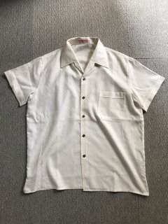 80's Euro Shark collar Shirt 織柄白