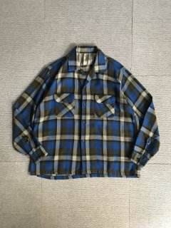 60's Vintage wool×rayon check shirt