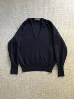70's Balmosal Wool V-Neck Knit 40 NAVY MADE IN SCOTLAND