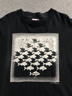 90's M.C.ESCHER Print T-shirt 黒 XXL MADE IN U.S.A.