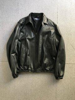90's Polo by Ralph Lauren Lamb Leather Drizzer Jacket XL BLACK
