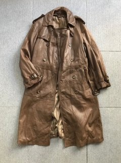 80's UNKNOW Euro lambskin Leather trench coat