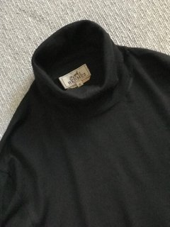 HERMES turtleneck Wool Knit M BLACK MADE IN ITALY