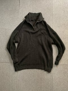 80's Unknown Euro Half-zip Wool Pullover Charcoal