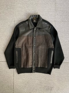 80's-90's SUN FOR MEN TOKYO Leather×Wool Switch Shirt