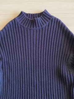 GAP Rib knitting Hi-neck Knit NAVY XL
