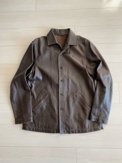 Paul Smith Leather Coach Jacket BROWN L