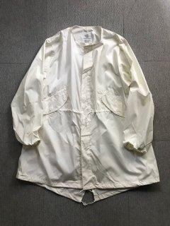 80's U.S.Military Hoodless Over Coat WHITE DEAD STOCK