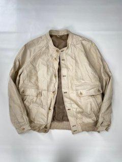 80's Euro Band-collar/Button Leather Blouson