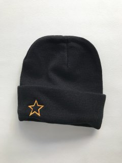 Embroidery Knit Cap BLACK