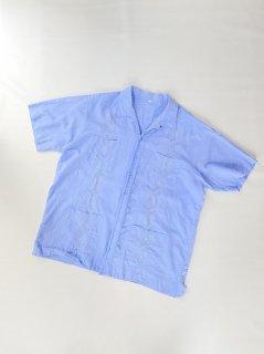 80's Linen Cuba Shirt SAX-BLUE