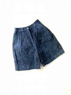 90's Nubuck Leather 2tuck Wide Shorts NAVY(実寸W28)