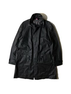90's~ DIESEL Flax/Cotton Coating Stand Collar Coat BLACK