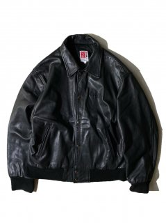 90's Unknown Brand Leather Stadium Jacket BLACK