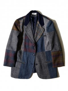 80's~90's Unknown Brand Patchwork Tweed Suede Combination Tailored Jacket