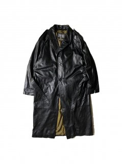 90's~ WILSONS LEATHER Leather  Trench Coat BLACK