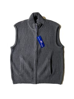 90's DEAD STOCK Sportsmaster Rib Knit Vest GRAY L MADE IN U.S.A.