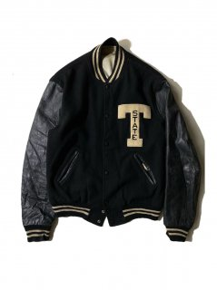 60's Burean Holloway Melton/Leather Stadium Jacket BLACK MADE IN U.S.A.