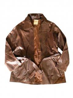 80~90's LOEWE Leather Haori BROWN MADE in SPAIN
