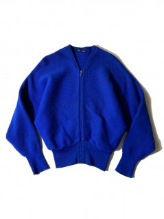 80's Euro Dolman Sleeve Zip-up Knit Cardigan NAVY