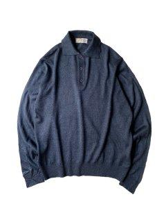 80's Acryl Knit Polo Shirt NAVY