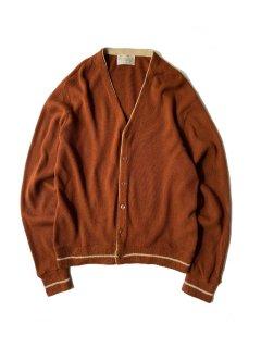 80's Sears Orlon Acryl Line Design Cardigan 赤茶色