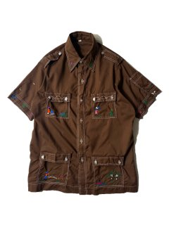 70's Unknown Brand Embroidery S/S Shirt CHOCOLATE BROWN