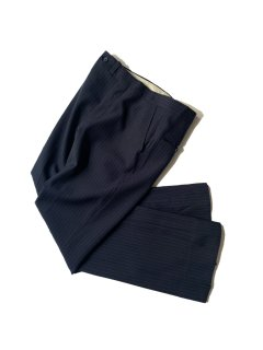70's~80's Unknown Brand Polyester Stripe Flare Slacks NAVY