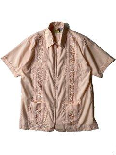 90's GUAYAEERA Zip-up Cuba S/S Shirt PAIL PINK