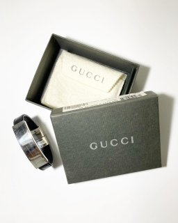 Gucci 925silver Id Plate/Leather Bracelet MADE IN ITALY 箱付き