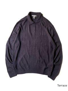 90's GEOFFREY BEENE Acryl Knit Polo Shirt XXL PURPLE-NAVY