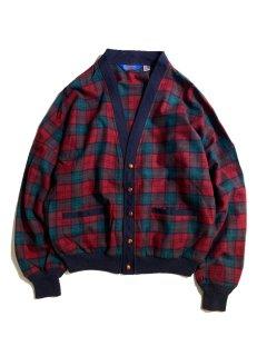 80's~90's PENDLETON Virgin Wool Glen Check Cardigan MADE IN U.S.A.