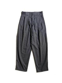 80's man's Polyester/Viscose 2tuck Wide Taperd Trousers CHARCOAL