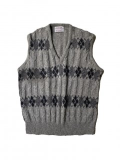 90's Career Club Argyle Knit Vest XL MADE IN U.S.A.