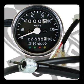 サイドマウントメーターキット φ60インジゲーターランプ付き SR400/500(85-00年/前後ドラムブレーキ)【モーターガレージグッズ】