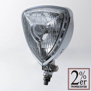 【Triangle Head Light Chrome】トライアングル ヘッドライト 汎用【チョッパー】カフェレーサー【ボバー】【2%ER(ツーパーセンター)】
