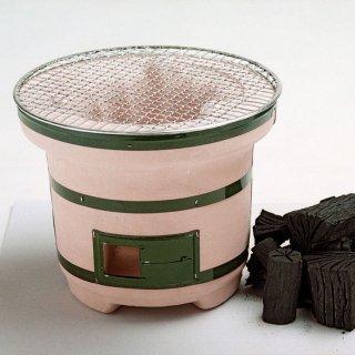 珪藻土練り製「七輪」つる付(金網付)と大野製炭の「切炭」セット